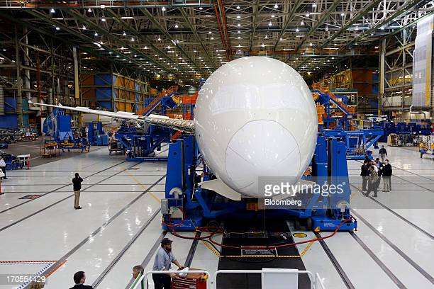 The first Boeing Co 7879 Dreamliner airplane is assembled at the Boeing Everett Factory in Everett Washington US on Wednesday May 29 2013 Boeing Co...