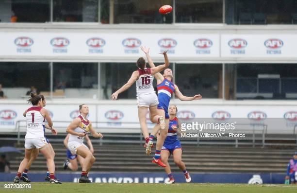 The first bounce is seen during the 2018 AFLW Grand Final match between the Western Bulldogs and the Brisbane Lions at IKON Park on March 24 2018 in...