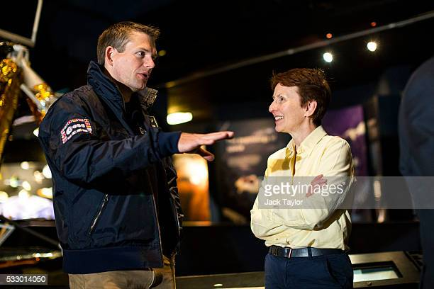 The first British astronaut in space Helen Sharman speaks with the first Danish astronaut to fly in space Andreas Mogensen at an event to mark 25...