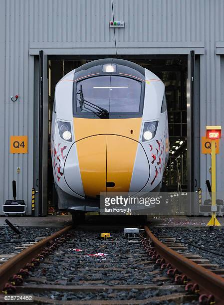 The first British-built Intercity Express train is unveiled in front of invited guests at the Hitachi Rail Europe site on December 9, 2016 in Newton...