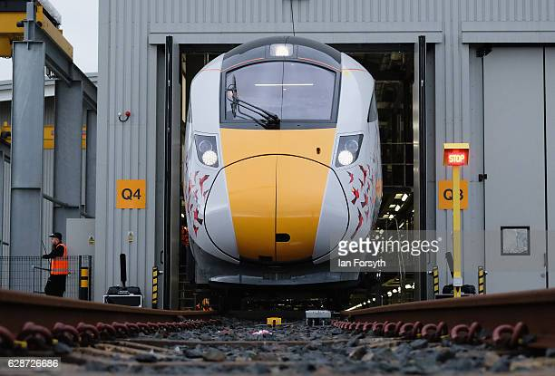 The first British-built Intercity Express train is unveiled in front of invited guests at the Hitachi Rail Europe siteon December 9, 2016 in Newton...