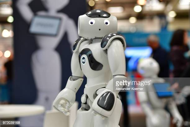 The first built humanoid robot, entertains visitors at the SoftBank Robotics stand at the 2018 CeBIT technology trade fair on June 12, 2018 in...