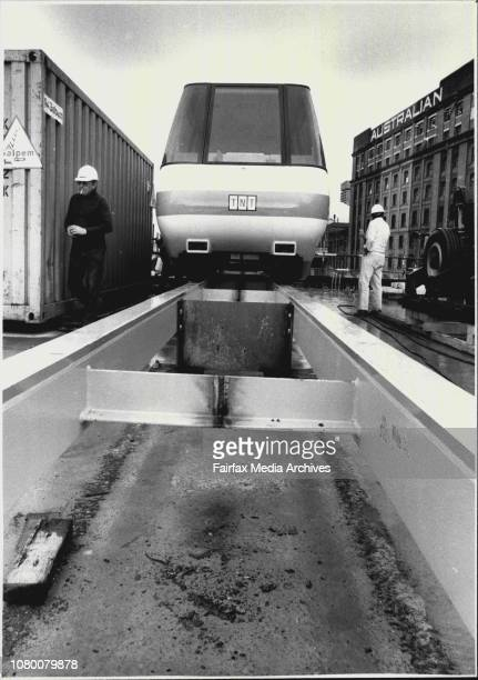 The first carriage of the new monorail was unveiled today at Darling Harbour after being lifted by crane from it's container August 30 1987