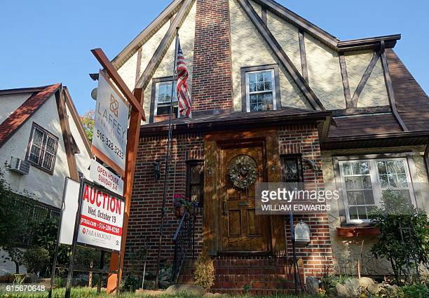 The first childhood home of US presidential contender Donald Trump October 10 2016 in New York The house is set to go to auction in New York October...