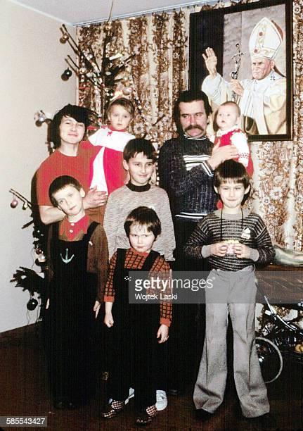 The first Christmas of the Walesa family after the strike Pictured from the left Danuta Przemek Magda Bogdan Jarek Lech Ania Slawek Gdansk Poland in...