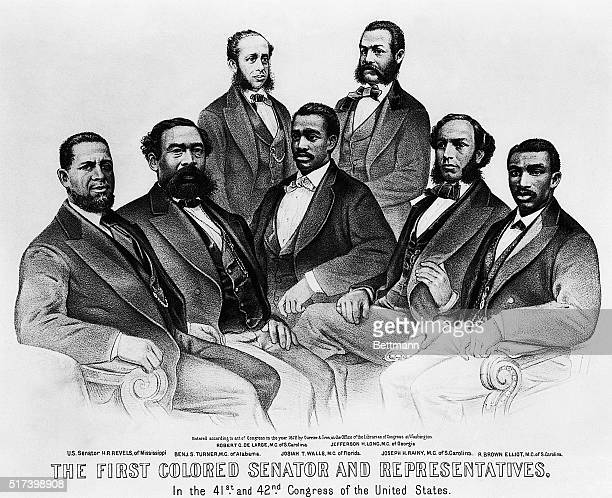 The First Colored Senator and Representatives, in the 41st and 42nd Congress of the US. Top standing left to right: Robert C. De Large, M.C. Of S....
