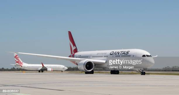 The first commercial flight of the Qantas Boeing 787 Dreamliner aircraft on December 15 2017 in Melbourne Australia
