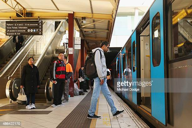 The first commuters are let back into Flinders Street Station after a strike by Rail Tram and Bus Union workers on September 4 2015 in Melbourne...