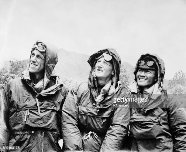 The first conquerors of Everest Edmund Hillary and Sherpa Tensing Norgay with expedition leader Colonel John Hunt in Kathmandu Nepal after descending...