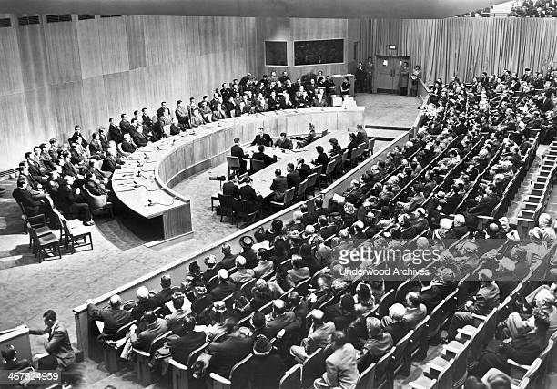The first convening of the United Nations' Security Council New York New York March 25 1946 NY Governor Thomas Dewey US Secretary of State James...