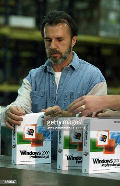 The first copies of Microsoft's Windows 2000 roll out on an assembly line in Salt Lake City, UT, December 14, 1999. On April 3, 2000 U.S. District...