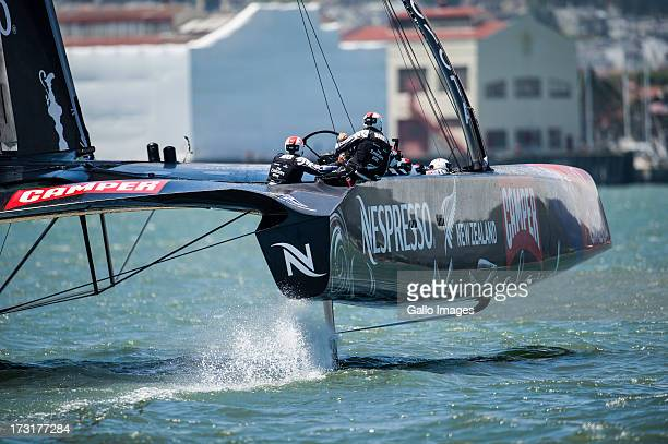 The first day of racing at The Louis Vuitton Cup on July 7 2013 in San Francisco USA The race saw AC 72s between Emirates Team New Zealand skippered...