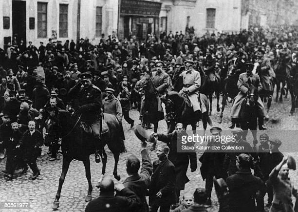 The first day of the February Revolution in Moscow which led to the Russian Revolution and the overthrow of the monarchy March 1917