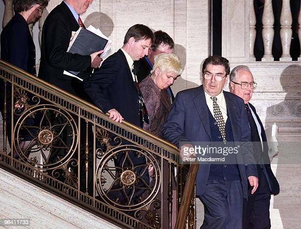 The first day of the Stormont Assembly 29th November 1999 SDLP assembly members including John Hume walk to the assembly chamber