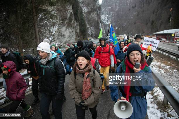The first day of the Strike WEF march on Davos on 18th of January 2020 near Davos Switzerland The first day of the march started in Lanquart with...