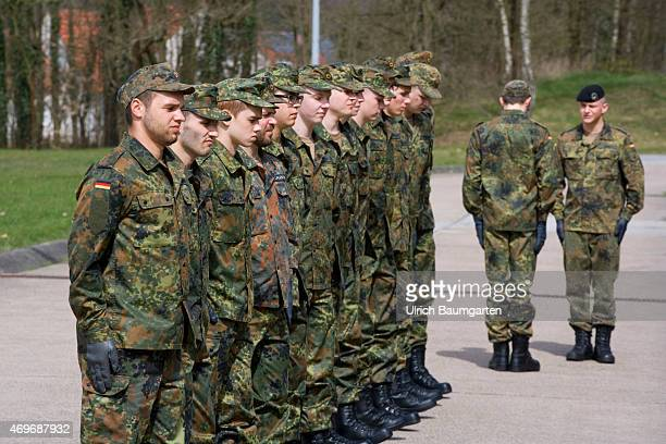 The first days of new recruits during basic training at the Tank Battailon 203 of the German Armed Forces in Augustdorf Formal training with turn...