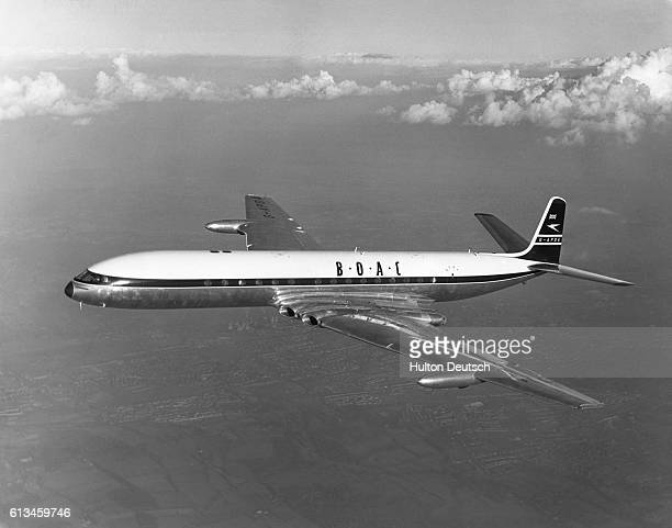 The first de Havilland DH106 Comet 4 is flown by test pilot John Cunningham for the British Overseas Airways Corporation According to Cunningham the...