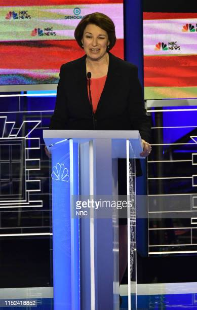 COVERAGE The First Democratic Debate Pictured Amy Klobuchar at The Knight Concert Hall Miami Florida on Wednesday June 26 2019