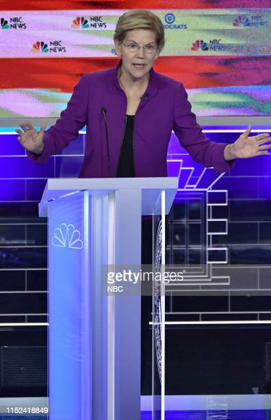 The First Democratic Debate -- Pictured: Elizabeth Warren at The Knight Concert Hall, Miami Florida on Wednesday, June 26,, 2019--