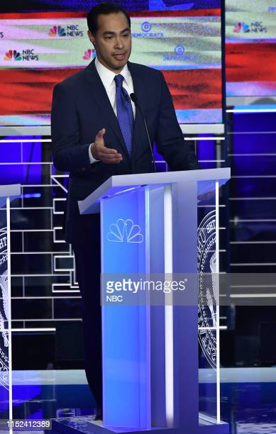 COVERAGE The First Democratic Debate Pictured Julián Castro at The Knight Concert Hall Miami Florida on Wednesday June 26 2019