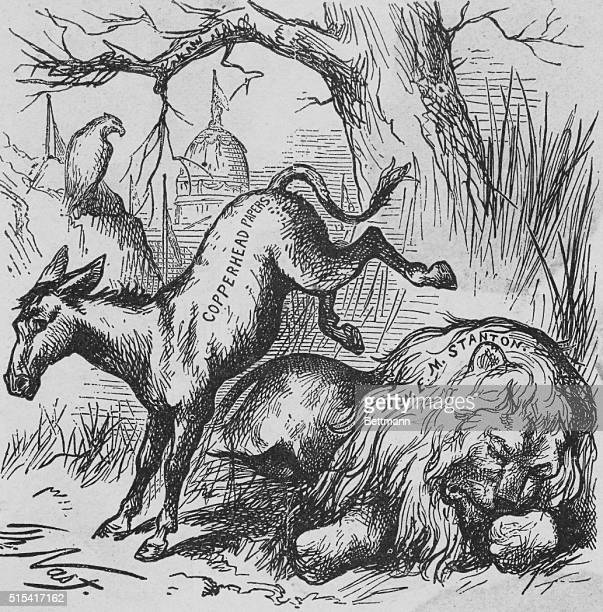 The First Democratic Donkey From a cartoon by Thomas Nast entitled A Live Jackass Kicking a Dead Lion published by Harper's Weekly for January 15 1870
