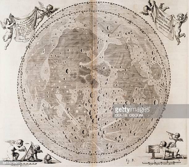 The first detailed map of the Moon drawn in 1647 by Johann Hevelius print taken from Johann Hevelius's celestial atlas Selenographia sive Lunae...