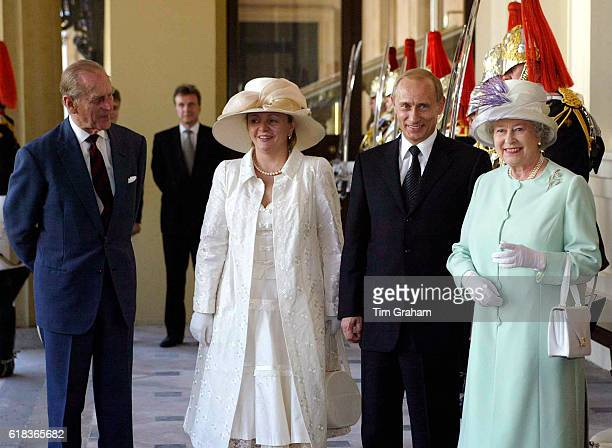The first diplomatic State Visit by a Russian leader since 1874 President Putin of the Russian Federation and wife with Queen Elizabeth ll and Prince...