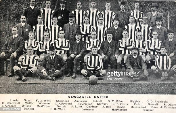 The First Division Championship winning Newcastle United squad from the 1908/09 season pictured on an original postcard included are star players...