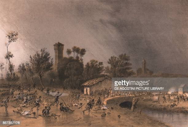 The First Division of the Regina Brigade attacking Montreoli Bridge Palestro Lombardy Second War of Independence lithograph by Carlo Perrin from the...