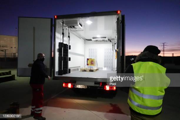 The first doses of the vaccine against COVID-19, developed by the Pfizer company, arrive in Spain, on December 26, 2020 in Guadalajara, Spain. Spain...