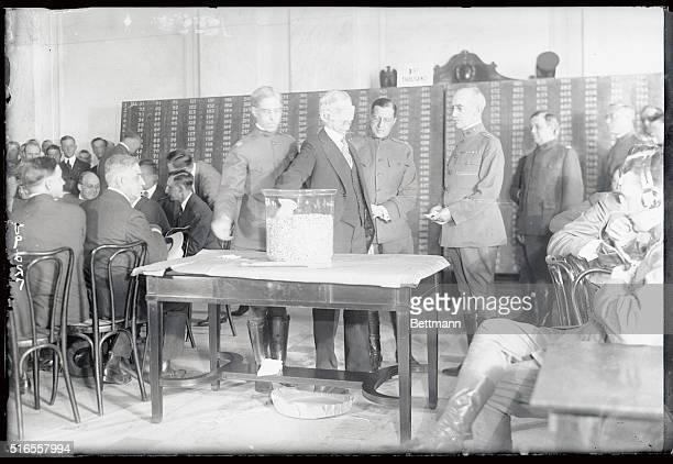 The first Draft Lottery was begun in Washington on Monday in the Senate office building president Woodrow Wilson drew the just number 322 Photo shows...
