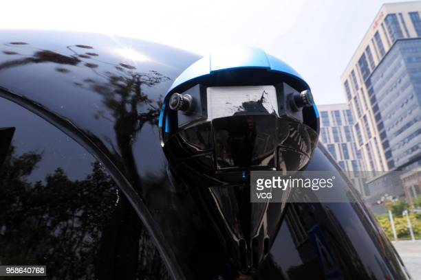 The first driverless micro bus Apolong travels along a closed road during a testdrive on May 13 2018 in Fuzhou Fujian Province of China China's first...