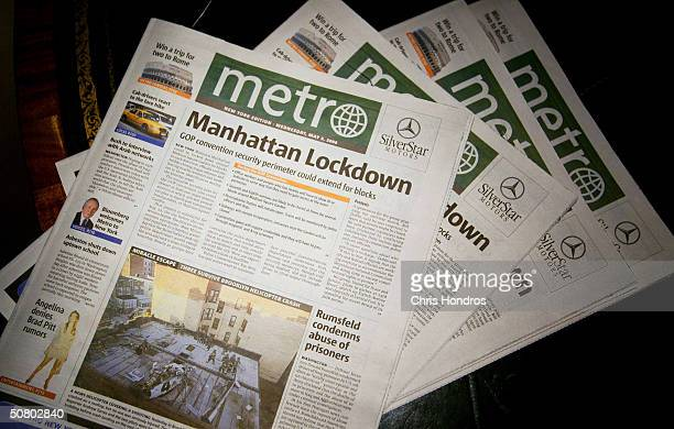 The first edition of Metro newspaper is seen May 5 2004 in New York City Metro a free daily newspaper targeted to 1834 yearolds is owned by the...