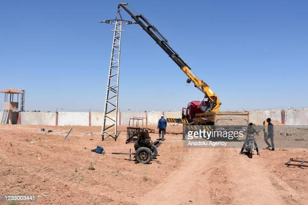 The first electric pole for electricity to be provided by the Turkish company is being set up in Tal Abyad district which was cleared from PKK,...