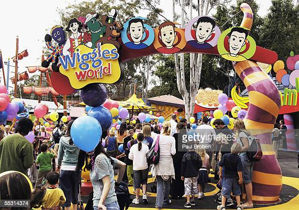 The first entrants enter the new theme park at the launch of 'Wiggles World' at Dreamworld September 8 2005 on the Gold Coast Australia