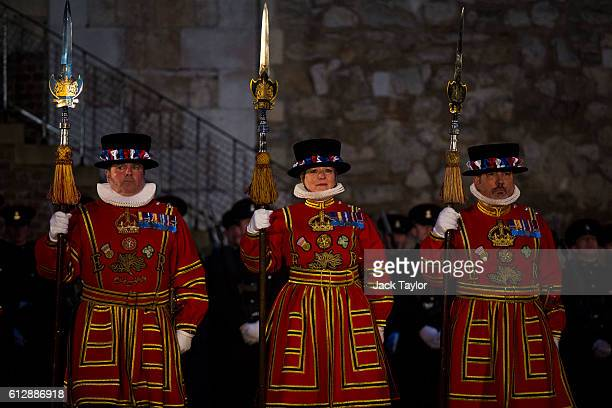 The first ever female Yeoman Warder Moira Cameron and other 'Beefeaters' parade during the installation of General Sir Nicholas Houghton as the 160th...