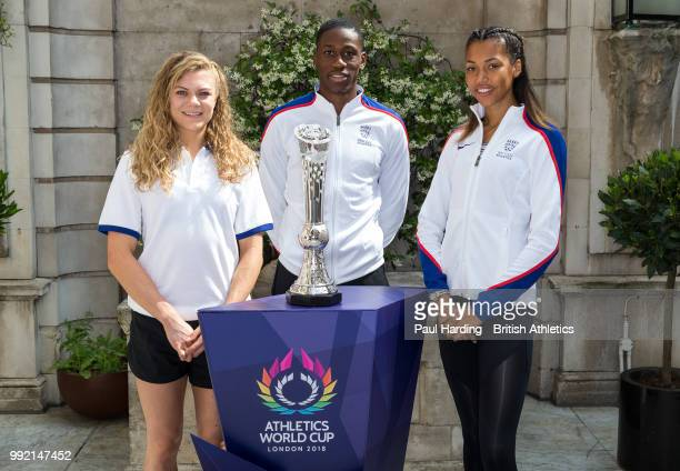 The first ever global Platinum Trophy is unveiled at the announcement of the Great Britain Northern Ireland Team for the Athletics World Cup with...