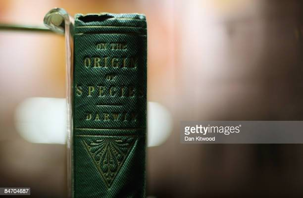 The first ever published copy of Charles Darwin's 'On The Origin Of The Species' is displayed as part of a new exhibition at Down House on February 9...