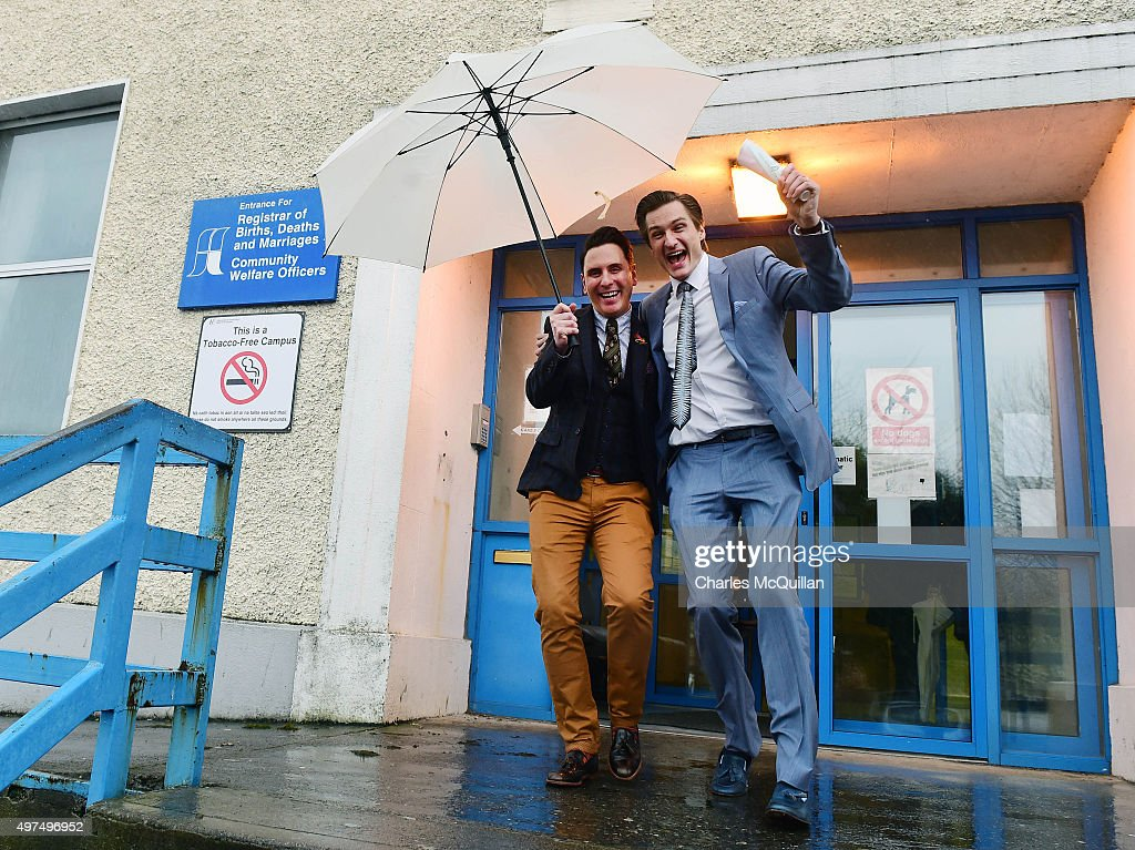 The first ever same sex marriage in Ireland takes place between Richard Dowling (L) and Cormac Gollogly (R) on November 17, 2015 in Clonmel, Ireland. Irish officialdom began recognising same sex marriage on Monday, following passage of the Marriage Act 2015 which was a result of the referendum on same sex marriage held earlier this year. This morning's ceremony took place in a small waiting room outside the registrar office at Clonmel Community Care Centre to ensure that this was the first same sex marriage.