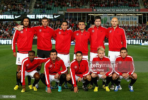 The first ever Wanderers starting eleven pose before the round one ALeague match between the Western Sydney Wanderers FC and the Central Coast...