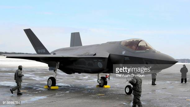 The first F35A stealth fighter jet lands at the Air SelfDefense Force's Misawa Air Base on January 26 2018 in Misawa Aomori Japan