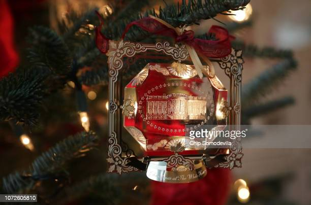 The First Family's official Christmas ornament is displayed at the White House November 26, 2018 in Washington, DC. The 2018 theme of the White House...