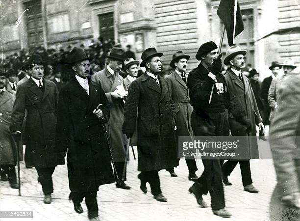 The first Fascist Congress Rome 1919 Benito Mussolini Italian dictator is in the centre behind the man carrying the banner