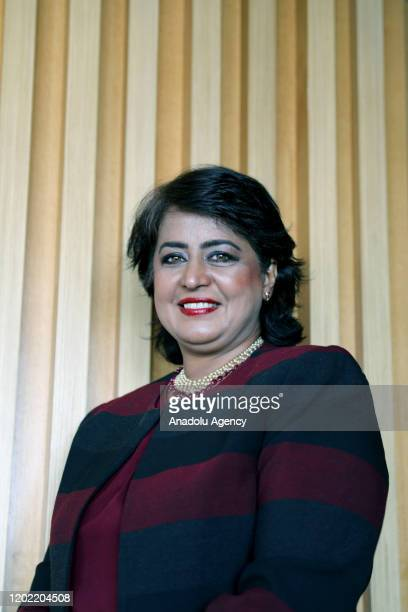 The first female Muslim president of Mauritius Ameenah GuribFakim poses for a photo during an exclusive interview with Anadolu Agency in Istanbul on...