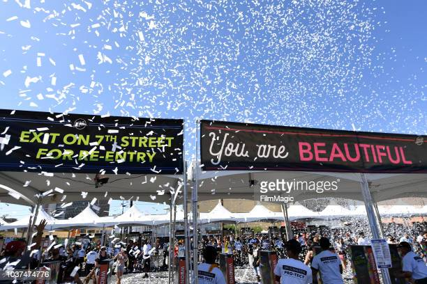 The Vegas Golden Knights Drumbots perform during the 2018 Life Is Beautiful Festival on September 21 2018 in Las Vegas Nevada