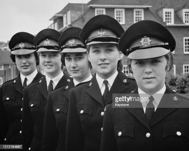 The first five young women to sign up as police cadets at the Kent County Police Headquarters in Maidstone 11th October 1965 Left to right Carolyn...