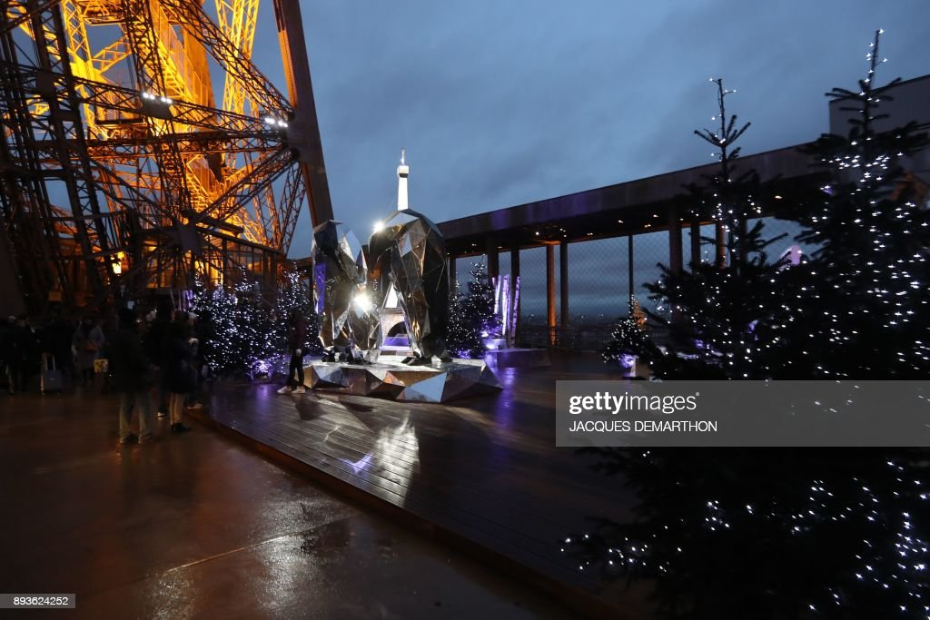 the first floors terrace of the eiffel tower is decorated with snow covered christmas trees