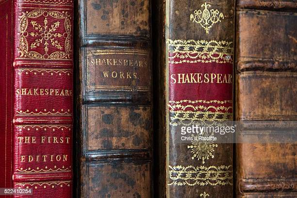 The first four folios of William Shakespeare's work during an unveiling for auction at Christie's King Street on April 19 2016 in London England The...