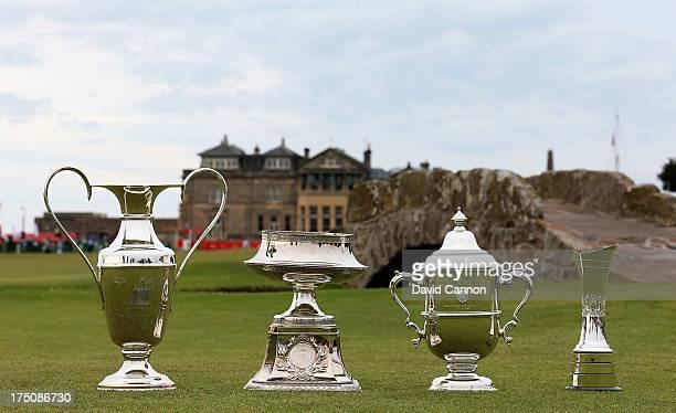 The first four women's Major Golf Trophies The Kraft Nabisco Trohpy The Wegmans LPGA Trophy The Women's US Open Trophy and The Ricoh Women's British...