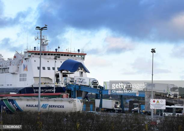 The first freight trucks from Scotland disembark from the European Causeway ferry at the port of Larne on January 1, 2021 in Larne, United Kingdom....